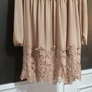 ASOS Dresses - Asos Beige lace long sleeve dress.